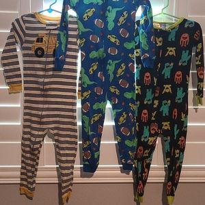 Boys 3T Cotton Zip Up Pajamas Bundle